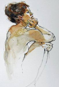 Pen and wash figure study 2